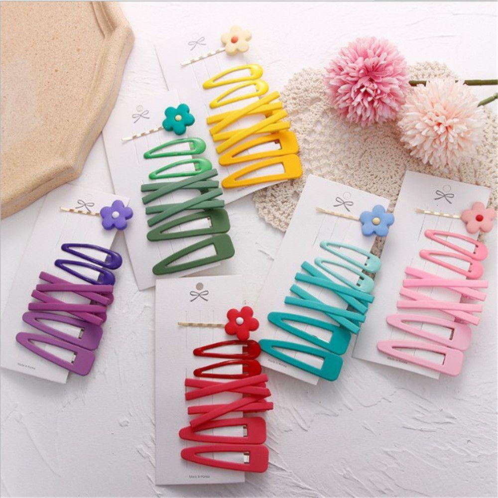 7pcs / set Mulheres Meninas doces cores bonitos clipes de flor geométrico doce Grampos Headband Barrettes Acessórios de Moda cabelo