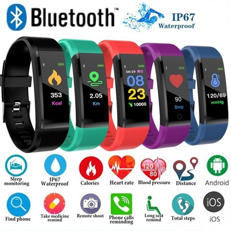 Smart Digital Watch for Men Women 115 Plus Smart Wristband Fitness Running Tracker Pressure Sport Watch Heart Rate Monitor Band