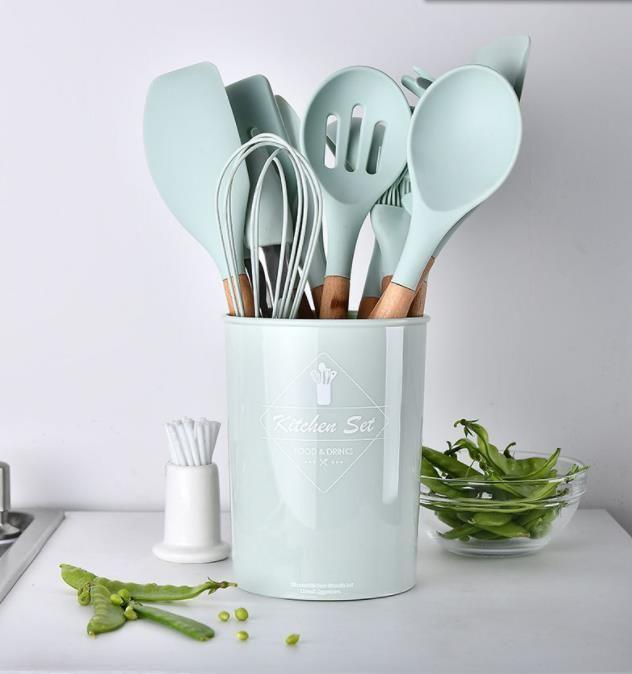 Utensilios de cocina de silicona utensilios de cocina antiadherente espátula pala mango de madera Herramientas Set con herramientas de almacenamiento caja de la cocina Cooking