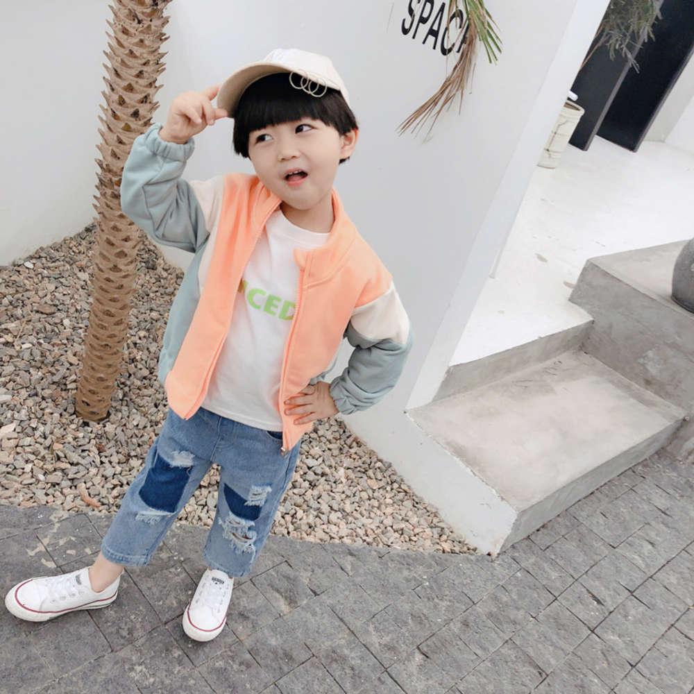 Детский 2021 Корейский Осенний Вязание Новый Мальчик Девушка Пальто Детский Воротник Контрастный кардиган