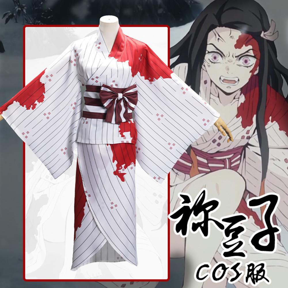 Cadılar bayramı Japonya Anime Demon Slayer Kamado Nezuko Kimono Cosplay Kostüm Pelerin Uzun Gevşek Üniforma Tam Set