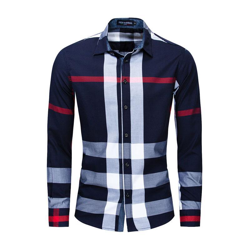 Men's Button Down Plaid Shirt Regular Fit Long Sleeve Flannel Casual Shirts Men Jacket Coat Mens Tops Big Size FM199