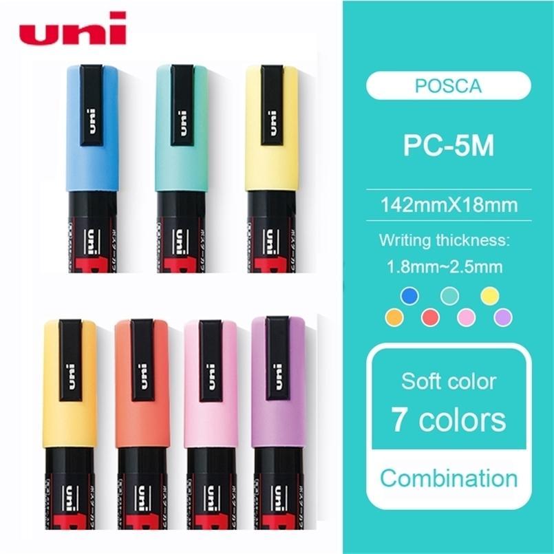 7 Piezas / Luz UNI POSCA PC-5M Pintura Pen-Fine Tip-1.8mm-2.5mm Pop Public Publicing Note Marker Pen Office Pintado a mano Pai 201222