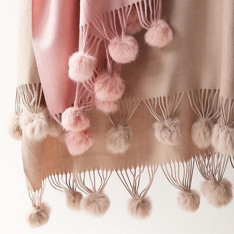 Frauen Hohe Qualität Einfacher Kaninchen Pelz Pom Pom Cashmere Schal Schal Winter Übergroße dicke Pashminas Poncho Hijab Blanket Cachecol LJ201114
