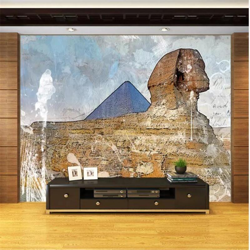 Foto papel de parede sofá da sala escadas fundo papel de parede 3D pirâmide grande mural