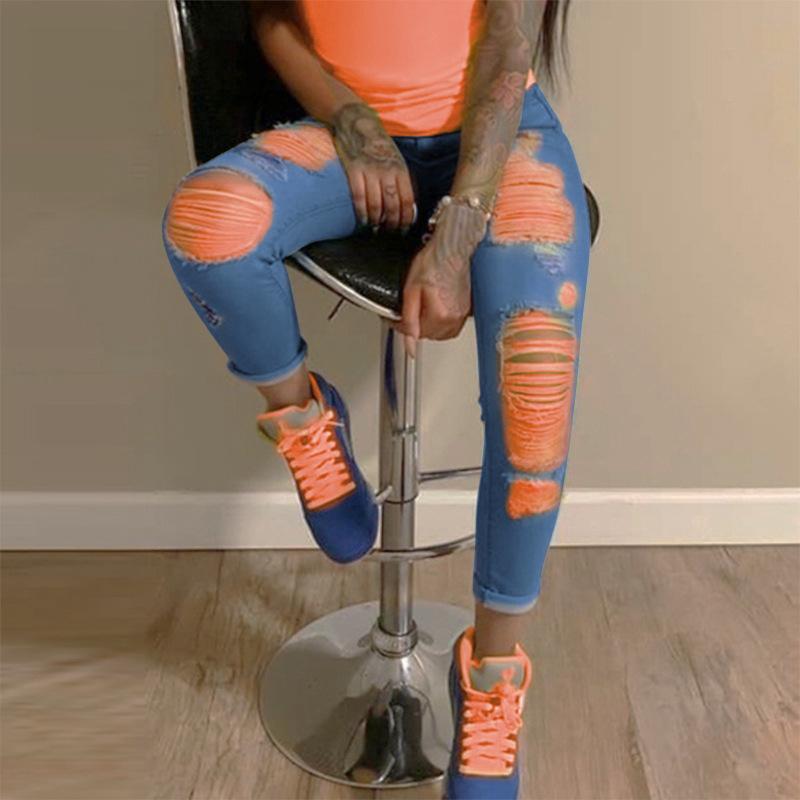 Kadın Kot Yüksek Belirli Delik Sıska Streç İnce Denim Pantolon Buzağı Uzunluğu Kot Bayanlar Moda Kadın Pantolon C620