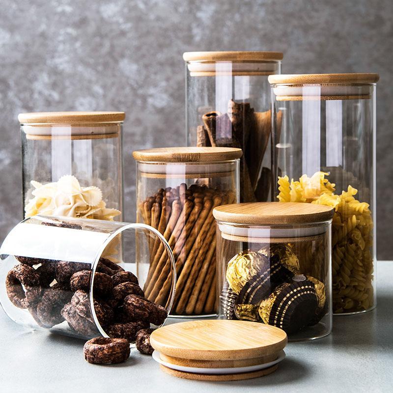 الزجاج مختومة يمكن أن الجرار خزان تخزين الطعام مع غطاء الخيزران الحبوب الشاي القهوة حبوب الحلوى حاويات