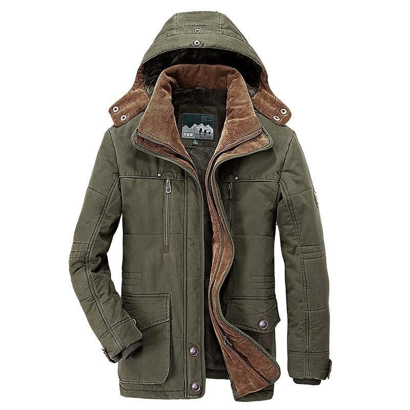 Sıcak Kış Ceket Erkekler Fleece Kapşonlu Coat Kalınlaşmak Parkas Erkekler Ceketler Dış Giyim Şapka Ayrılabilir Coats Man Jaqueta Masculina S-5XL 201009