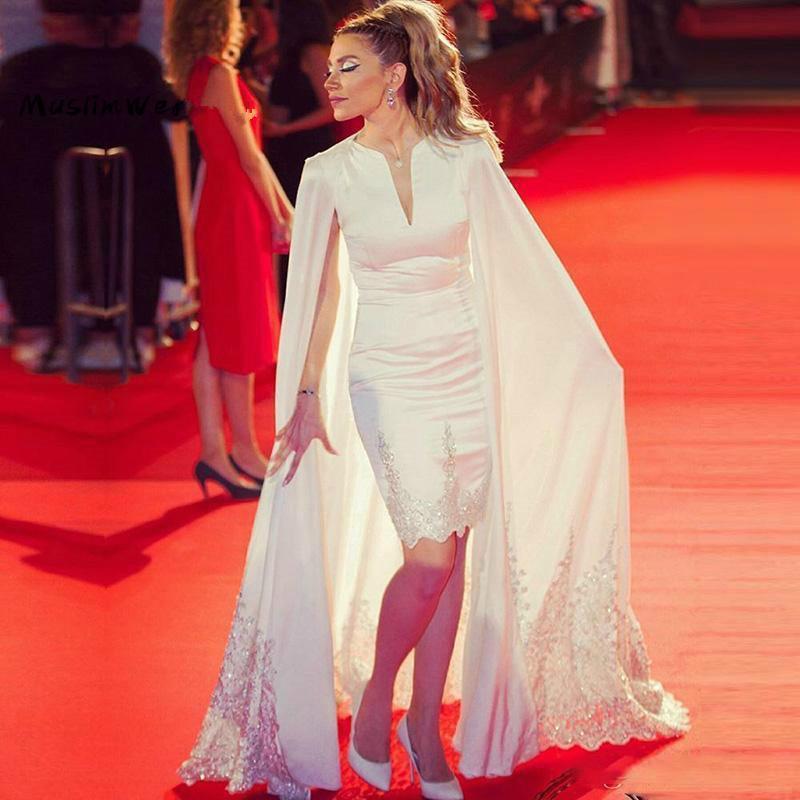 Vestidos de fiesta de la noche de la alfombra roja con el aplique de encaje envuelve los envolturas cortos Mensid Vestidos de fiesta de las mujeres ocasiones especiales Vestidos formales