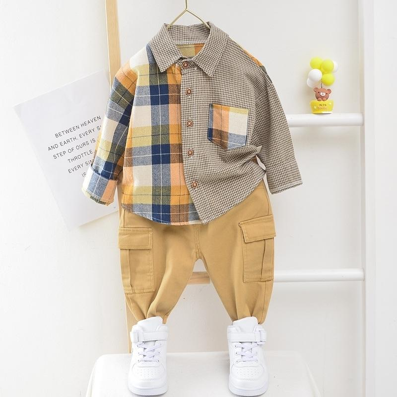 Infant Toddler Baby Clothes for Girls Boys Patchwork Shirt Set Cotton Long Sleeve 1-5 Years Spring Autumn Kids Clothing LJ201203