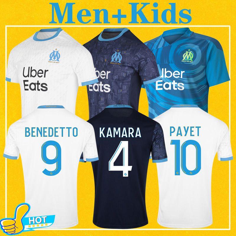Olympique De Marseille Maillot OM Maillot Homme Enfant Kit 2021 Maillot de Foot 20 21 PAYET BENEDETTO SAKAI KAMARA Football Shirt