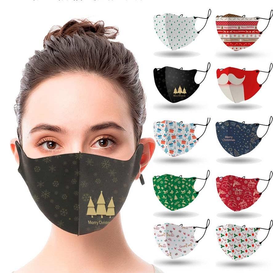 la máscara de Navidad cara diseñador máscara de adulto barba de Santa Claus máscaras bucales hombres mujeres máscara niebla impresión en negro a prueba de polvo para niños niñas