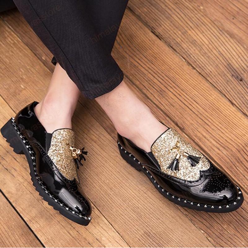 Chaussure originelle de chaussures de luxe séquine robe robe chaussures hommes Tassel Messieurs Messieurs Chaussures de mariage élégantes Chaussures de mariage noir