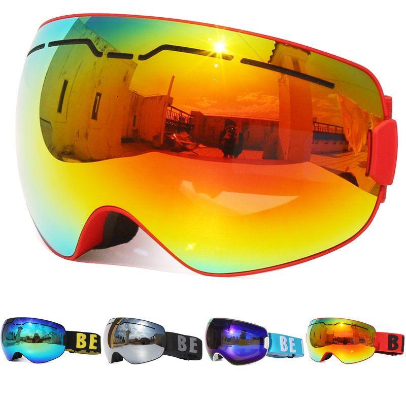 H Veight Quality 2021 UV400 Anti-Fog Double Layers Большой кадр Линза лыжная маска Снежные мужчины Сноуборд Очки Зеркальное покрытие Стекло