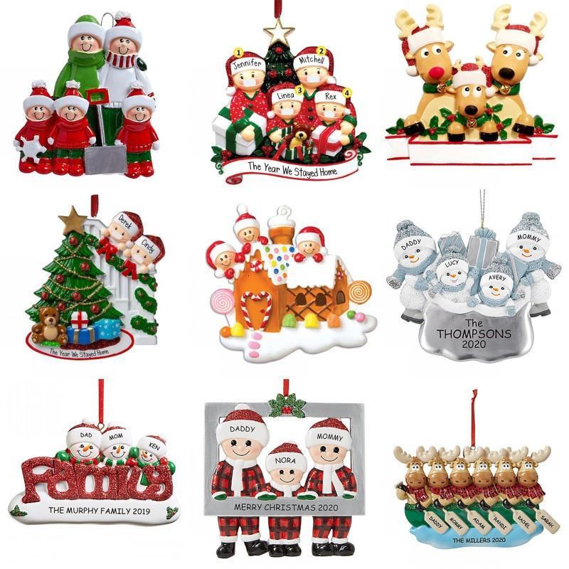Noël Décorations 2020 bricolage PVC Greetings 2020 Quarantine Arbre de Noël Hanging Pendentif famille bricolage Nom Ornement