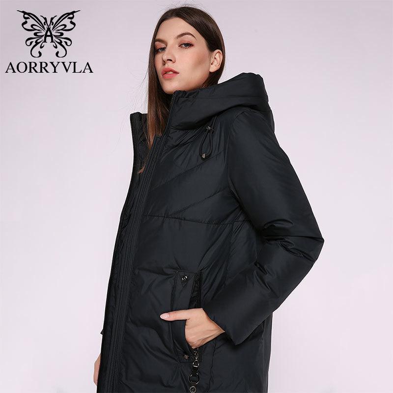 AORRYVLA 2019 Yeni Moda kadın Hood Uzun Parka Ceket Kalın Sıcak Biyolojik Aşağı Kadın Ceket Kış