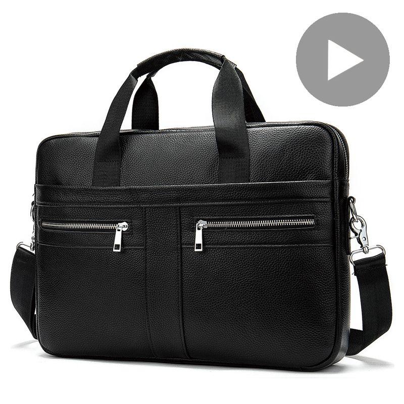 Shoulder Messenger Women Men Bag Genuine Leather Briefcase For Document Handbag Business Male Female Laptop A4 Portafolio Travel Q0112