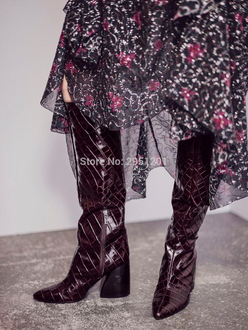 Band Women Boots Faux Leather Women Knee High Boots Casual Long Chunky Block High Heel Black Big Size 45