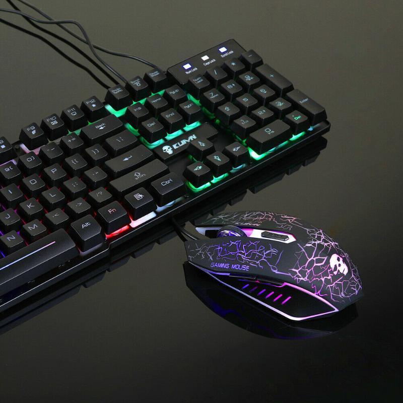 Gaming-Tastatur Bunte Hintergrundbeleuchtung Tastatur Multiple Buttons Mauspads Kit Bunte Hintergrundbeleuchtung Spiel-Maus-Set für PC Laptop