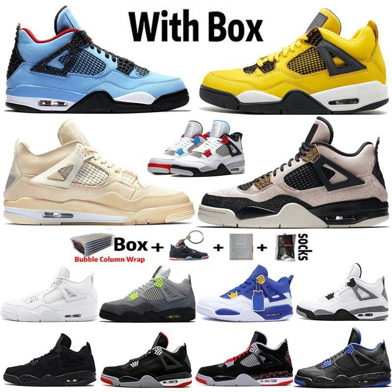 2021 En Kaliteli Factory_Footwear Jumpman 4 Yelken Neon Bred Denim Beyaz Raptors Siyah Kedi 4 S Erkek Basketbol Ayakkabı Kadın Sneakers Retros Eğitmenler Boyutu 36-47