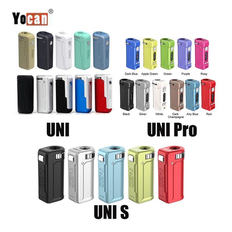 Новейший 11 Цвета Аутентичного Yocan UNI PRO S Box Mod 650mAh Разогреть В.В. Vape батареи для всех 510 Thread Тележки Cartridge 100% оригинала