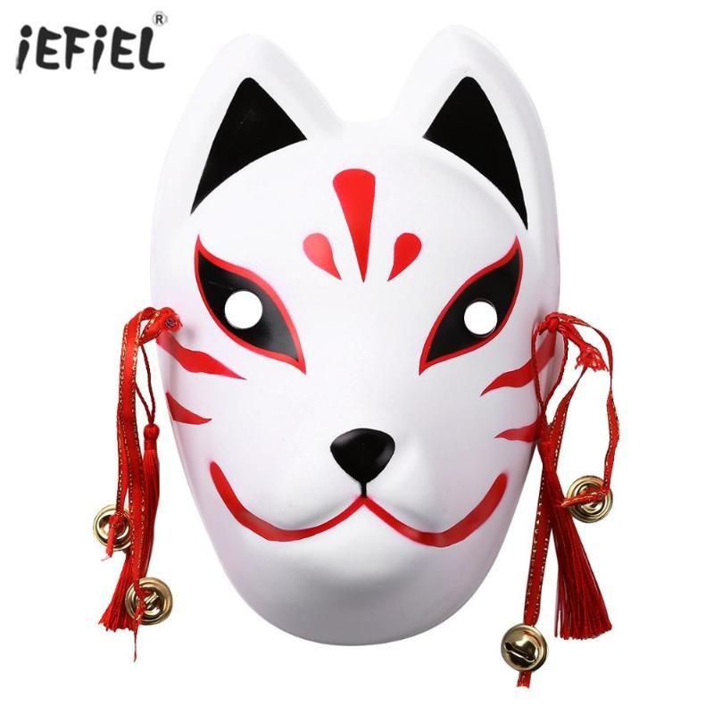 Püsküller Bells El boyaması Japonya Anime Cosplay Tam Yüz Maskeleri Parti Masquerade Kostüm Cadılar Bayramı Maskeleri ile Anime Maske