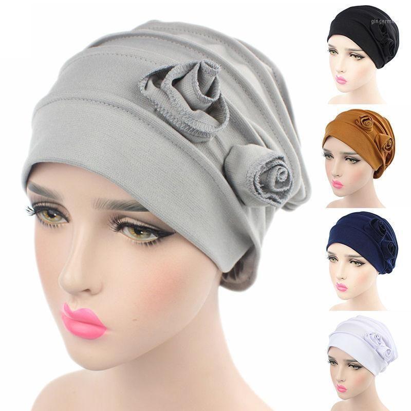 Donne Flower Cappuccio musulmano Cappuccio Elastico Elastico Moda Chemo Cotton Head Wrap Color Color Hat Hearwear Turban Caps1