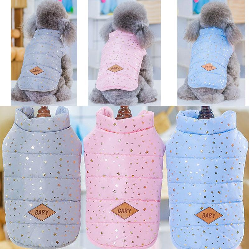 Caliente que broncea la estrella de perro ropa de invierno sin mangas acolchadas chaleco para la ropa para mascotas Shih Tzu Yorkie Perros mascotas Ropa del gato de vestuario XXL