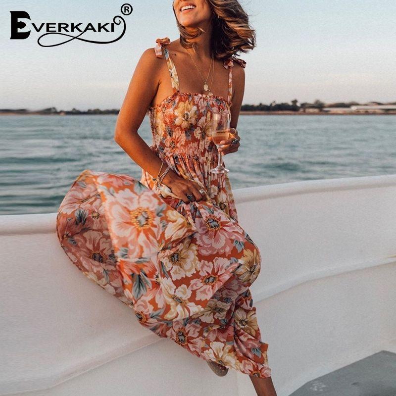 Женщины Everkaki платье цветочные принты Boho Летние длинные Vestidos дамы цыганцы Maxi Slip платья повседневная женщина весна новая мода T200604