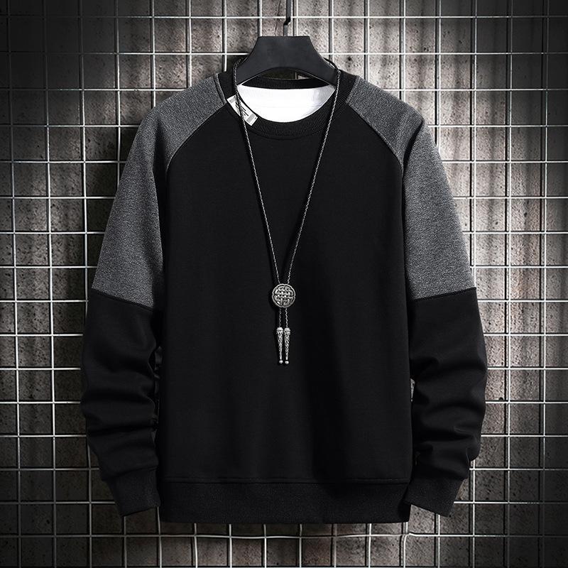 EHZ8 hommes Sweatshirt Sweatshirt Hommes Patchwork Patchwork Pullover Noir Blanc Sweat à capuche Hiver Winter Fleece Streetwear Sweatshirts