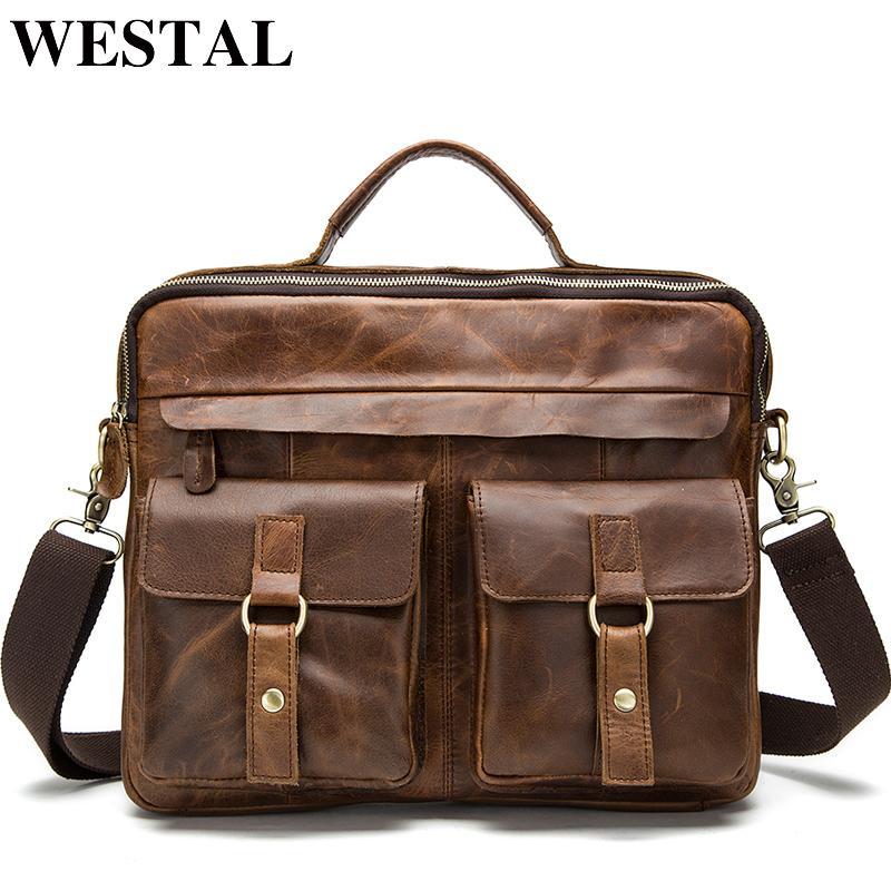 Westal мужские портфели мужской сумки натуральные кожаные офисные сумки для мужчин Messenger кожаная сумка ноутбука 14 бизнес-портфель сумки LJ200930