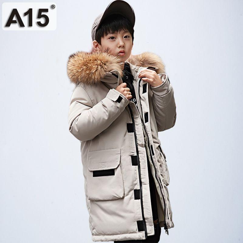 A15 para baixo jaqueta para menino longo hooded 2019 grandes meninos de inverno casaco adolescente crianças inverno casacos de inverno tamanho 6 8 10 12 14 ano y200901