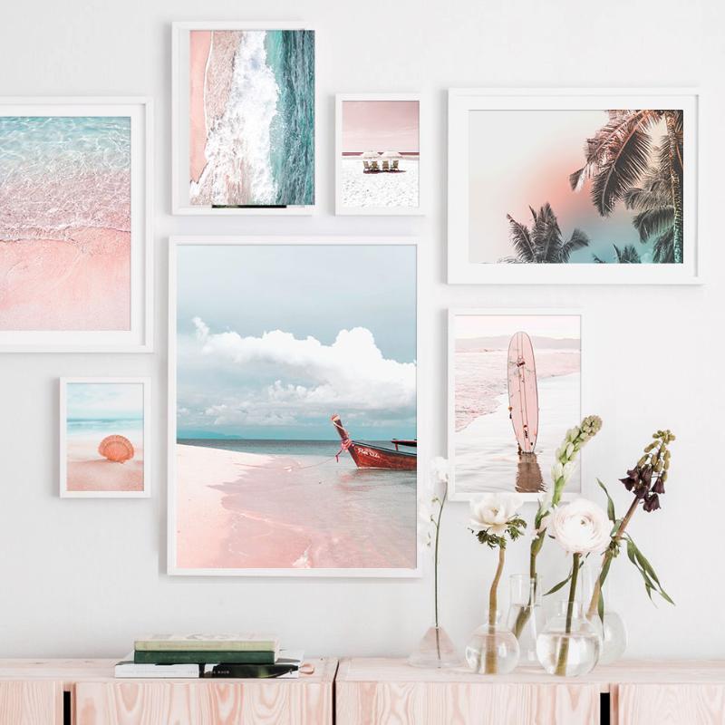 Розовый Sea Beach Shell Зонтик Rowboat Leaf Скандинавские Плакаты и печать Wall Art Canvas PaintingWall Картины для гостиной Декор