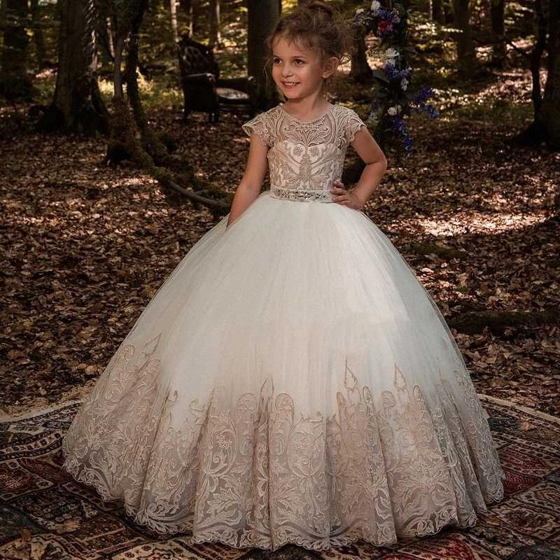 New Flower Girl Dresses Beading Sash Ball Gowns Lace Appliques Floor Length Flower Girls Princess Elegant Wedding Pageant Dresse WHFl#