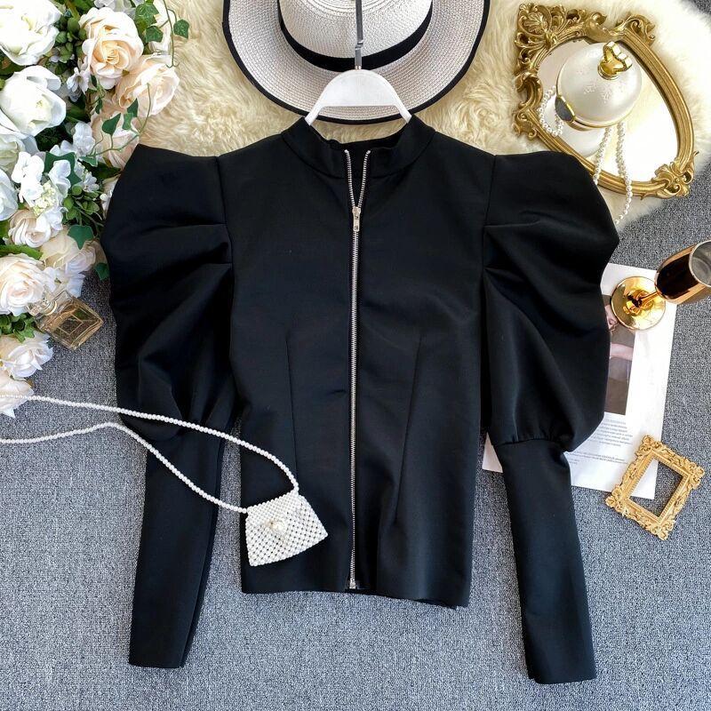 2020 Нового прибытие Хорошего качества молнии рубашка дизайн слоеного рукав блузка рубашка Gothic Ins Мода весна осень красная одежда женщины Топы Дамы