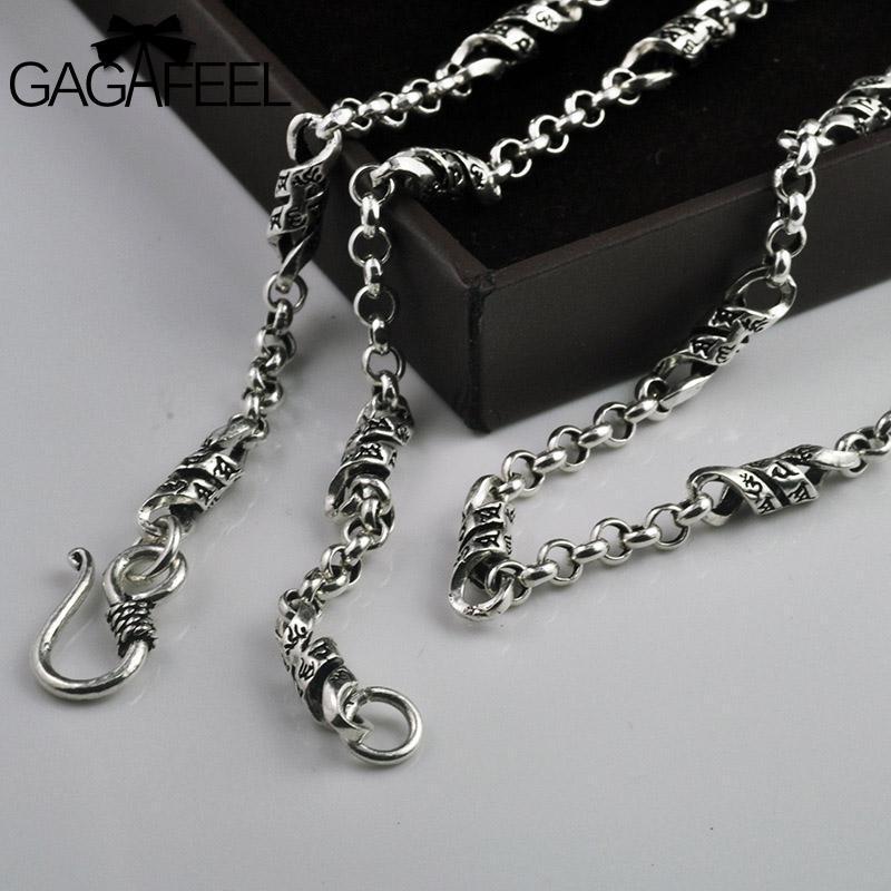 GAGAFEEL 925 Sterlingsilber-Männer lange Mantra Worte Gliederkette Halskette Retro Mode Thai Silber Unisex Mann Frauen Schmuck