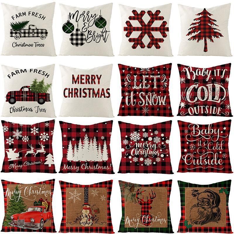 Coussin de linge Coussin Deer Xmas Arbre Design Canapé Taie d'oreiller à carreaux Lettre décorative à carreaux Couvercle Couvercle Décor de Noël pour la maison