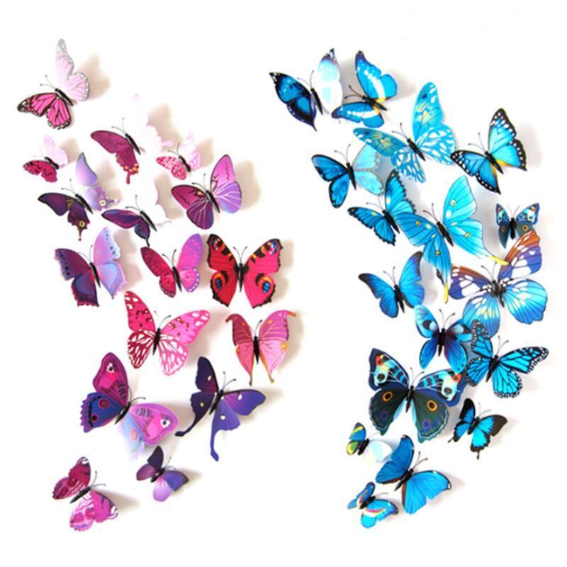 Kelebek Duvar Çıkartmaları Duvar Dekoru Duvar Resimleri 3D Magnet Kelebekler DIY Sanat Çıkartmaları Ev Çocuk Odaları Dekorasyon 12 adet / grup PPD3735