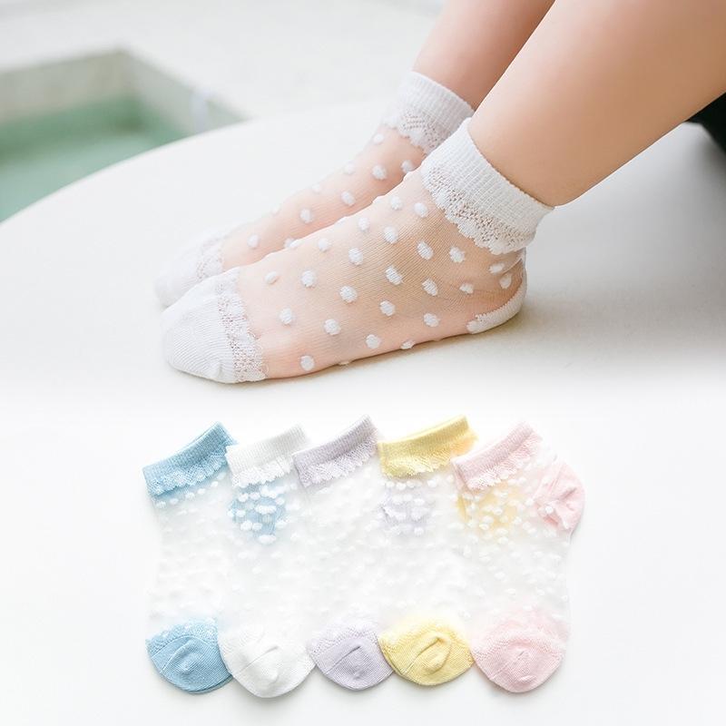 5 pares / lote verão meninas meias para crianças crianças de malha de malha bebê menina meias florais com laço elástico Flores de papel sock atacado y201009