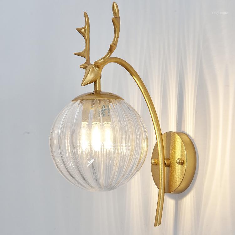 Neue Kreative Nordic Indoor Wandleuchte Glas Ball Wohnzimmer Schlafzimmer Nachttischlampe Pfosten Moderne Spiegel Leichte Innenwand Lichter1