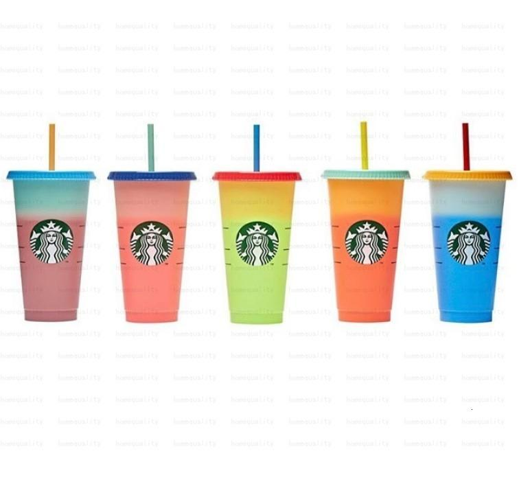 24oz cambia i bicchieri che bevono succo con labbra e paglia tazza da caffè magica Costom Starbucks Colore Cambiare la tazza di plastica Exdea