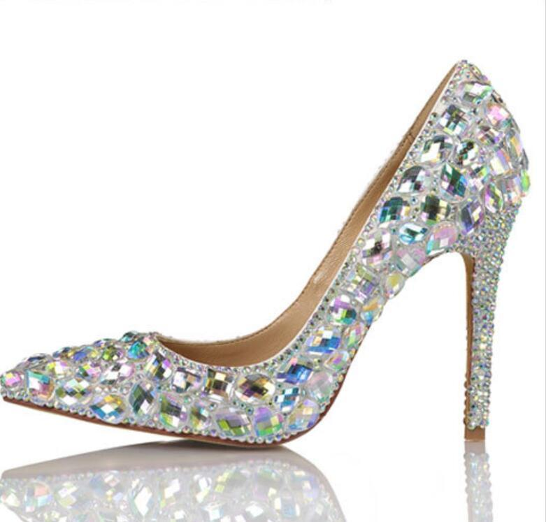 Europe and The United sandal States fashion high slip shoes dazzling color glass diamond wedding dress thin heel pointed sexy bride bridesmaid runw