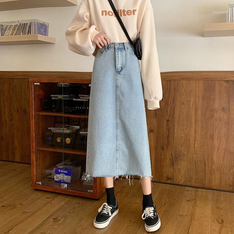 Весна 2020 Новая версия высокой талии подол свободный тонкий на большую и среднюю длинную в форме джинсовой джинсовой светло-голубой юбку женщин1