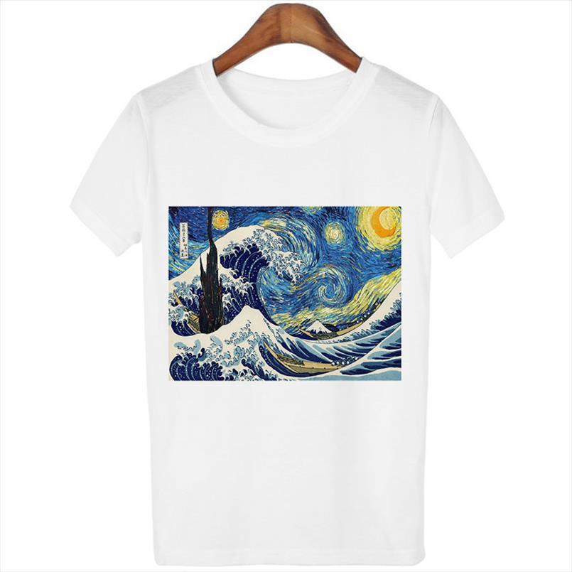 Frauen Short Sleeve Graphic Tees Tops Vintage T-Shirts Vincent van Gogh Sternennacht ästhetische Weiß-T-Shirts Harajuku 2020