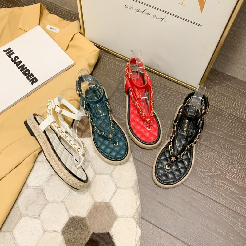 Monmoira colori misti Gingham piattaforma sandali donna catena d'oro flip flopspadrilles fibbia cinturino designer scarpe da donna