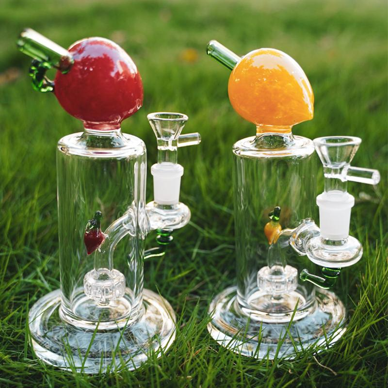 Unique Peach Fruits Bong 7 Inch Tall Glass Water Pipes With Bowl Perc Showerhead Percolator 14mm Female Joint Dab Rigs Heady Bongs Thick