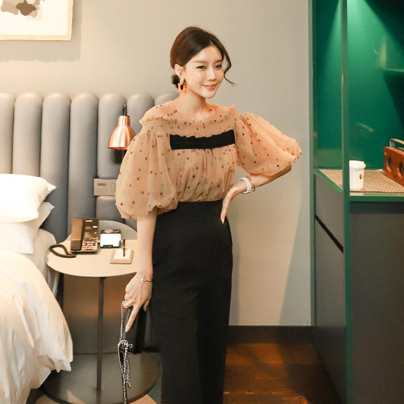 2020 automne nouveau style coréen petit parfum style étranger lanterne manches taille haute montrent un pantalon mince Top pièce Lanternlantern Lanterntwo