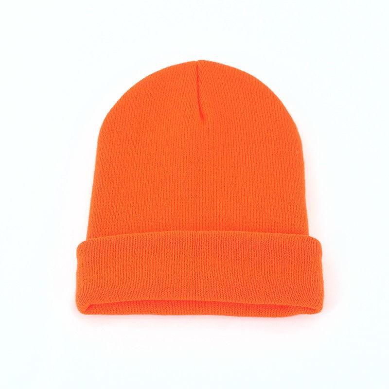 INS Color sólido Sombrero de lana Niños Otoño e invierno Sombrero de punto Coreano Dulce y encantadora Bolsa de todo partido Cap Otoño e invierno Moda gorra