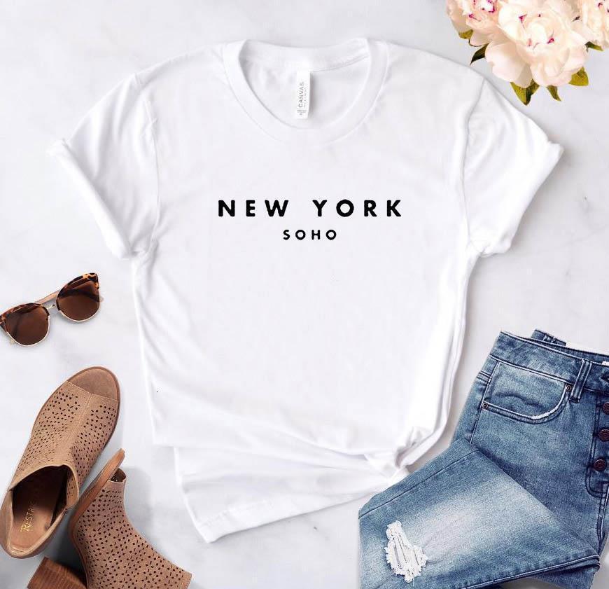 Женская футболка Нью-Йорк Сохо Алфавит Хлопок Смешные Футболка Дамы The Tee Модная Футболка Harajuku Топ
