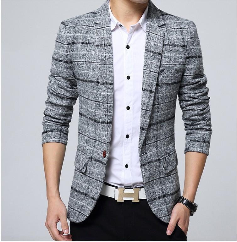 2020 Yeni Varış Iş Erkek Blazer Rahat Blazers Erkekler Kafes Resmi Ceket Popüler Tasarım Erkekler Elbise Suit Ceketler